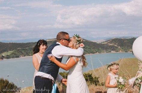 Celebrant, Bride and Groom and Flower Girl